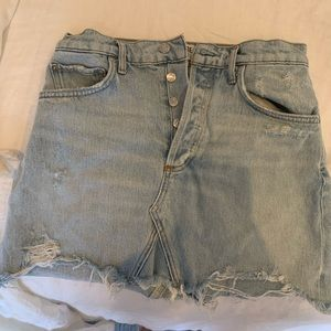 AGOLDE distressed jean skirt